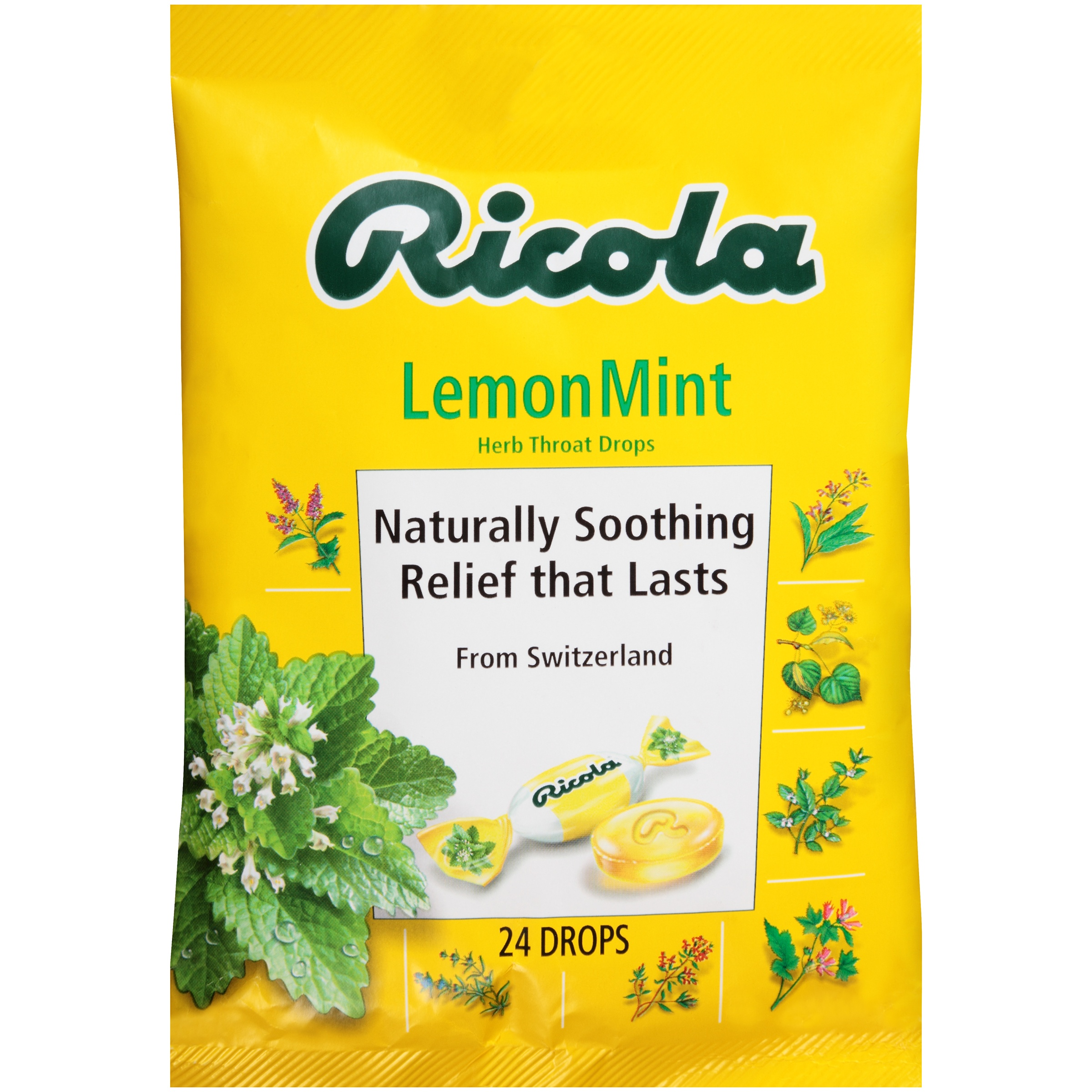 Ricola Lemon Mint Herb Throat Drops 24 ct Bag