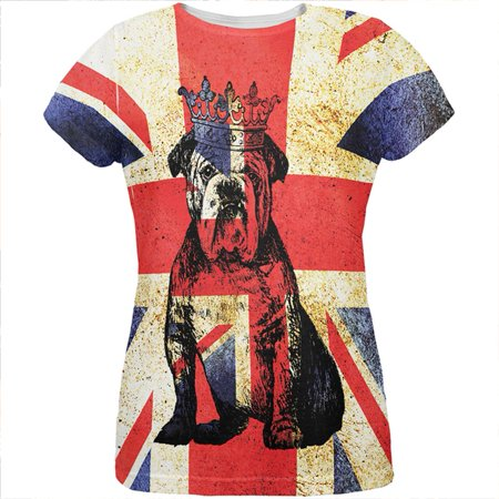 English British Bulldog Crown Grunge Flag All Over Womens T Shirt (Olde English Bulldogs)
