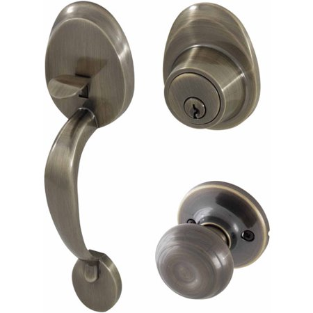 Handleset Brass Knob - Honeywell Classic Knob Handleset Door Lock, Antique Brass