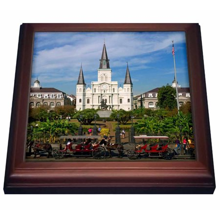 3dRose St. Louis Cathedral, New Orleans, Louisiana - US19 DFR0091 - David R. Frazier, Trivet with Ceramic Tile, 8 by 8-inch
