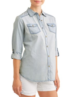 16eb3c8b54 Product Image Maternity Button Down Chambray Top