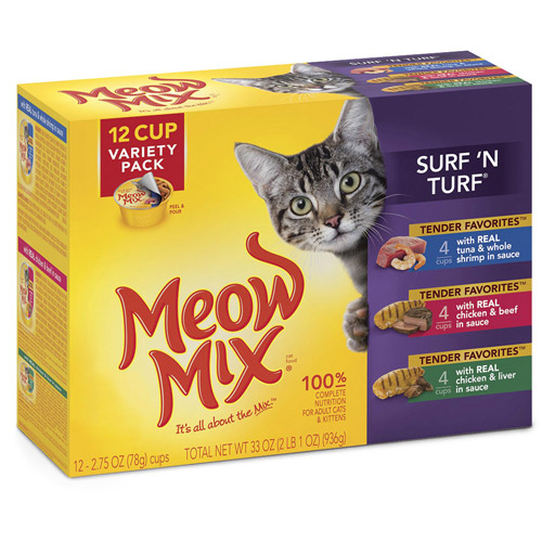 Meow Mix Tender Favorites Surf 'N Turf Wet Cat Food Variety Pack, 2.75-Ounce Cups (Pack of 12)