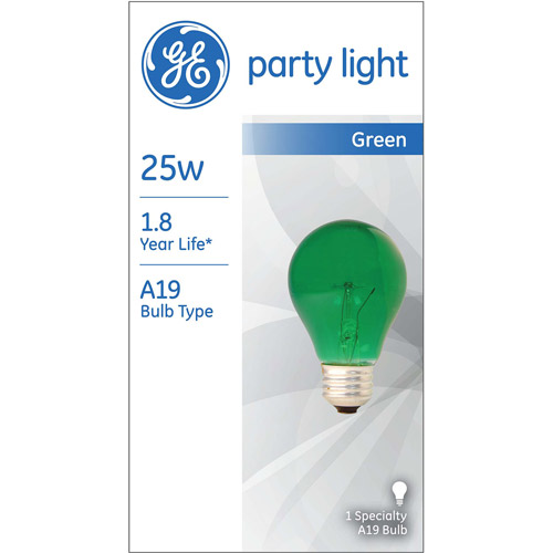 GE 25-Watt A19 Green Party Light, 1-Pack