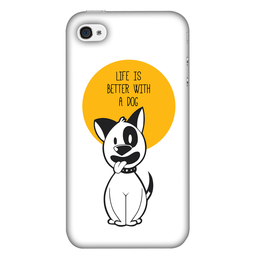 iPhone 4S Case, iPhone 4 Case - Life Is Better With A Dog,Hard Plastic Back Cover, Slim Profile Cute Printed Designer Snap on Case with Screen Cleaning Kit