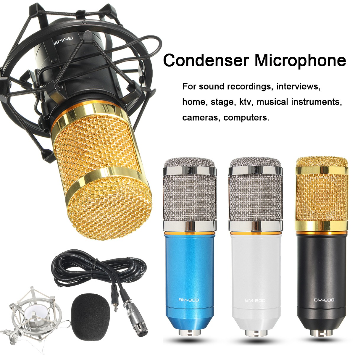 BM-800 Pro Condenser Microphone Studio Kit Studio Recording Microphone with Shock Mount Holder, Audio Cable, BOP cover