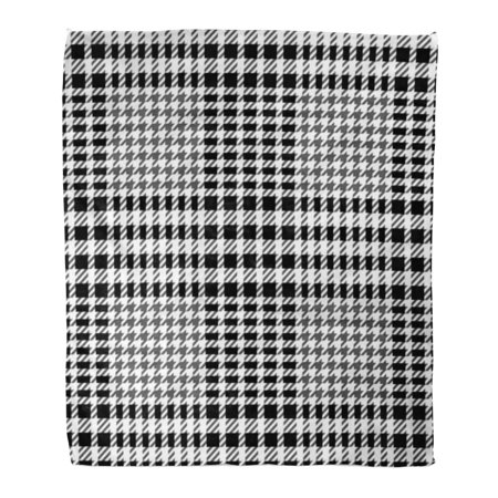 KDAGR Flannel Throw Blanket Checker Abstract Check Tweed White and Black Imitation Cashmere Soft for Bed Sofa and Couch 50x60 Inches
