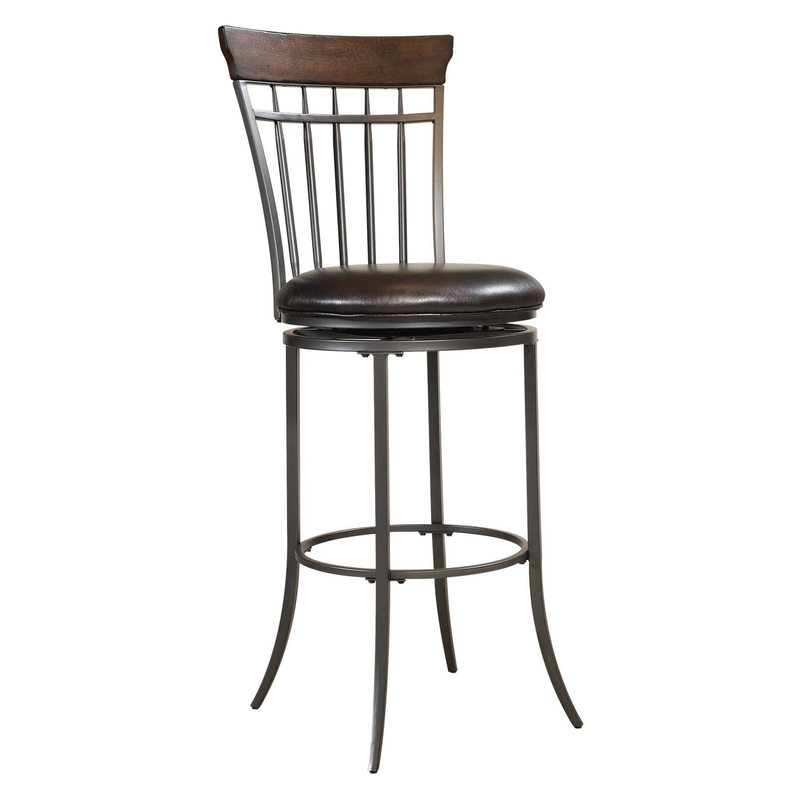"Hillsdale Furniture Cameron 46"" Vertical Spindle Back Swivel Bar Stool, Chestnut Brown Finish by Hillsdale Furniture LLC"
