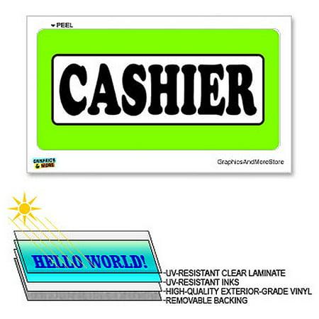 Cashier Neon Sign (Cashier - 12 in x 6 in - Laminated Sign Window Business Sticker )