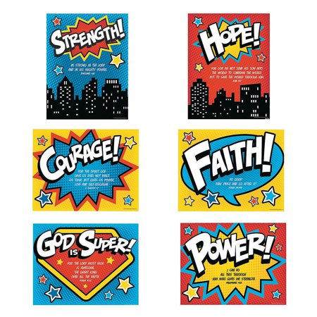 Fun Express - Superhero Vbs Posters - Educational - Learning Aids - Learning Charts - 6 Pieces - Vbs Posters