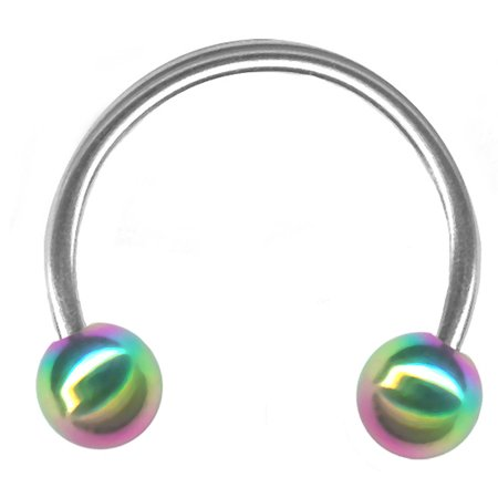 Unbranded 20g 14 6mm Steel Circular Barbell 3mm Rainbow End