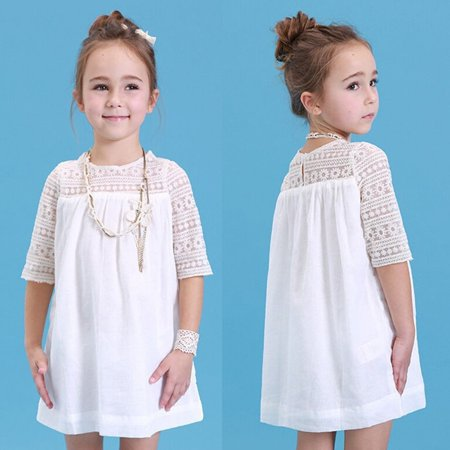 199e333b04efd New Baby Girls Princess White Lace Flower Party Dress Gown Formal Dresses  2-8Y - Walmart.com