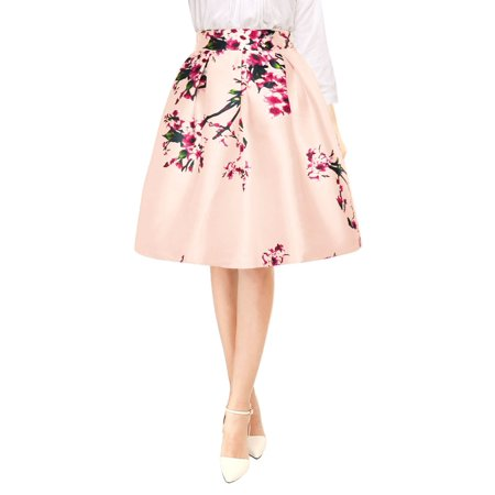 Women Floral High Waist Pleated A Line Midi Skirt Dress Pink XS (US - Pink Plaid Skirt Halloween