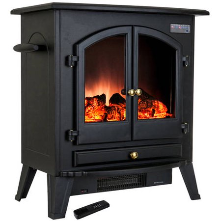 Akdy Fp0032 25 1500w Freestanding Electric Fireplace Stove Heater With Vintage Glass Door And
