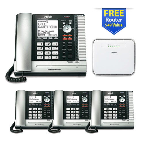 Vtech UP416 Main Console Telephone with UP406-3 Desksets with 4 Users Bundle
