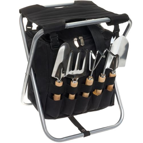PICNIC TIME NEW Black 5-Piece Garden Tool Set w/ Removable Tote & Folding Seat