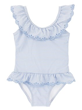 Sweet Toddler Girls Floral Embroidery Stripes One-Piece Swimsuit (130/5-6 Years)