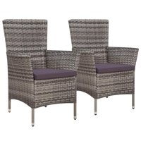 "Outdoor Dining Chairs 2 pcs Poly Rattan Gray 22.8""x24""x34.6"""