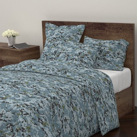 Marine Marpat Urban Digital Camo Sateen Duvet Cover by Roostery