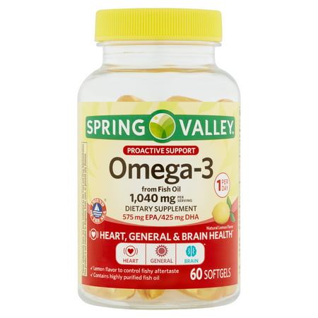 Spring Valley Omega-3 from Fish Oil Softgels, Proactive Support, 1040 Mg, 60 Ct