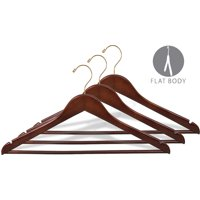 Wood Suit Hanger w/ Solid Wood Bar, Box of 100 Space Saving 17 Inch Flat Wooden Hangers w/ Walnut Finish & Brass Swivel Hook & Notches for Shirt Dress or Pants by International Hanger