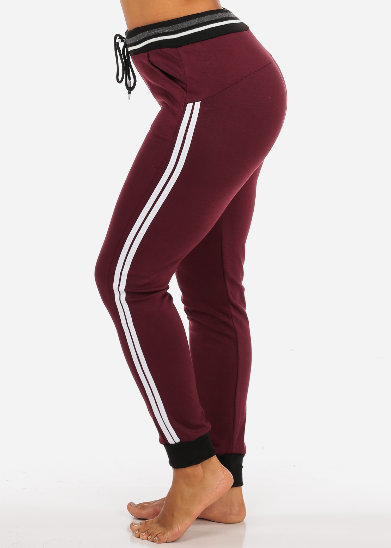 Womens Juniors One Size Activewear High Waisted Drawstring Burgundy Jogger Pants W Stripe Sides 41239P