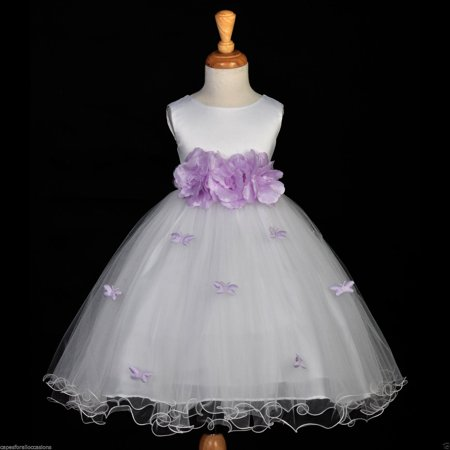 Ekidsbridal White Flower Girl Dress Tulle Butterflies Rose Weddings Summer Easter Dress Special Occasions Pageant Toddler Bridesmaid Recital Communion Holiday Bridal Baptism Formal Events 509a