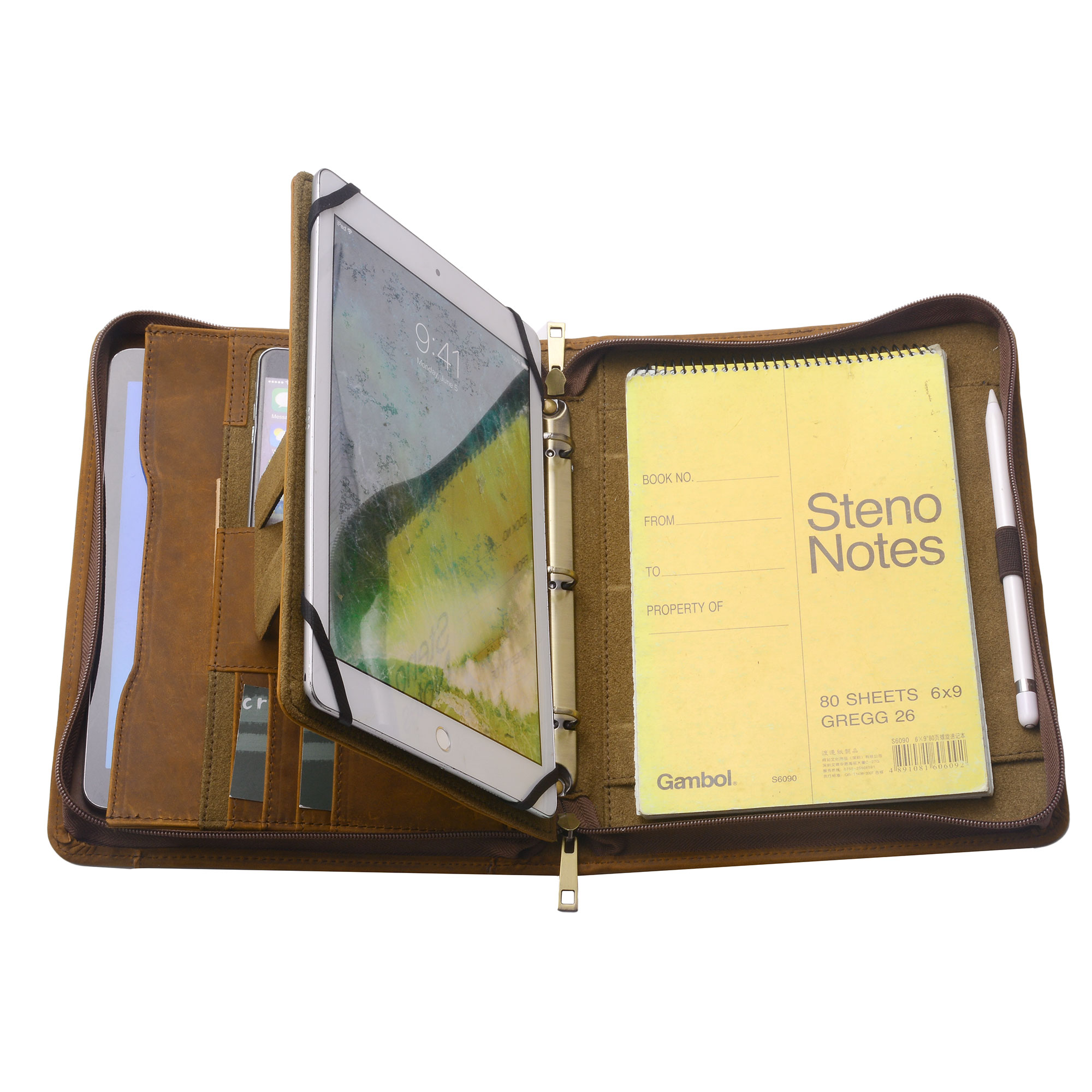 Zipper Organizer Binder Portfolio, Tablet Folio with 3-Ring Binder for Jr Legal   A5 Paper by Most will