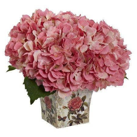 Nearly natural hydrangea with vase silk flower walmart mightylinksfo
