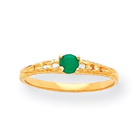 14k Yellow Gold 3mm Emerald Birthstone Baby Ring