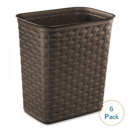 Sterilite 3.4 Gallon Espresso Weave Wastebasket