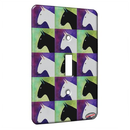 KuzmarK™ Single Gang Toggle Switch Wall Plate - White Bull Terrier Dog Pattern Art by Denise Every