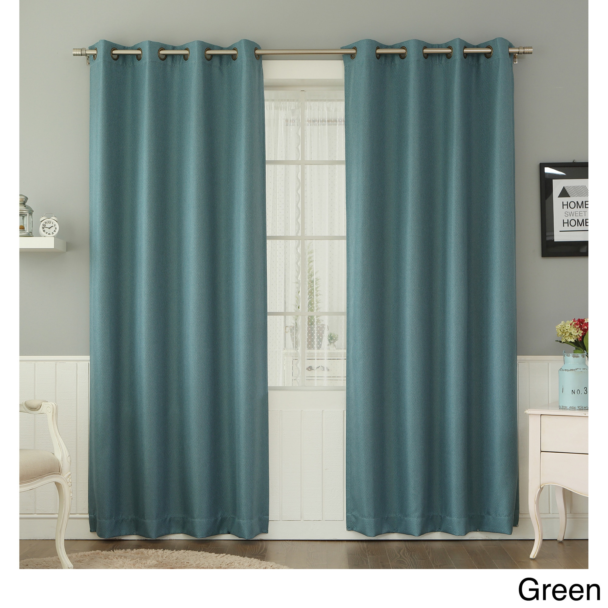 Aurora Home  Basketweave Linen Look Room Darkening Blackout Grommet Curtain Panel Pair