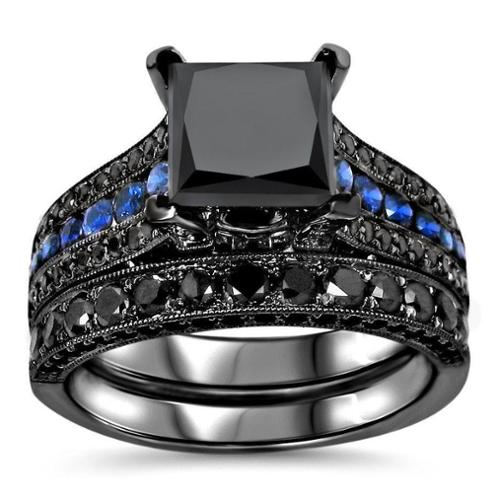 Noori Collection Noori 14k Black Gold 4 1 4ct TDW Certified Black Diamond and Blue Sapphire Bridal Ring Set by Overstock