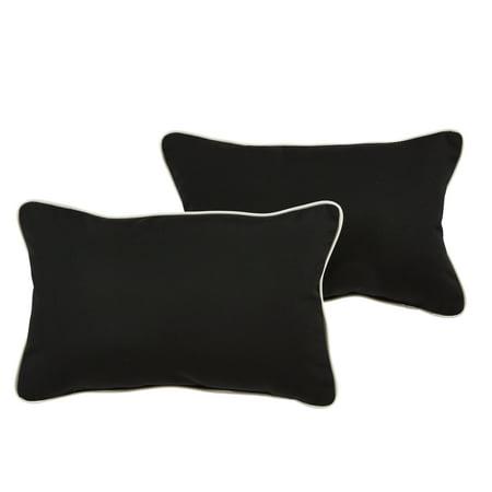 Humble and Haute Santori Sunbrella Black/ Canvas Indoor/ Outdoor 13 x 20 Inch Corded Pillow