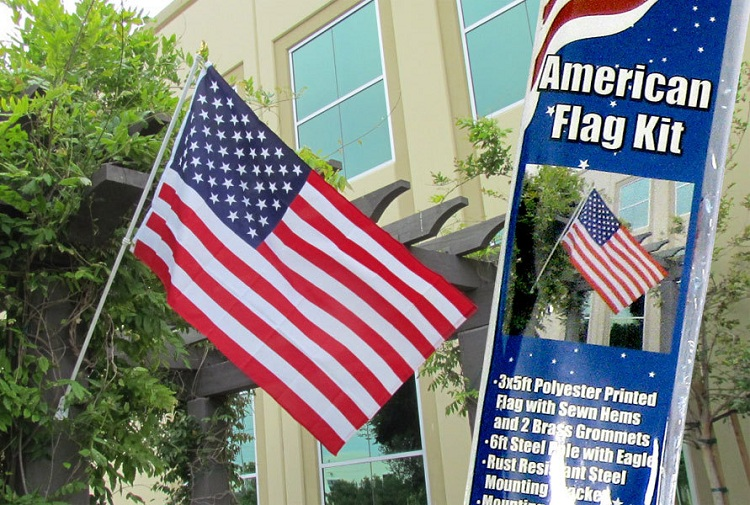 American Flag and Flag Pole Kit New United States Banner USA Pennant 3x5 Foot by Home and Holiday Flags