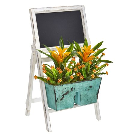 Nearly Natural  Gold and Green with White and Green Chalkboard Farmhouse Stand Artificial Bromeliad and Succulent Plant