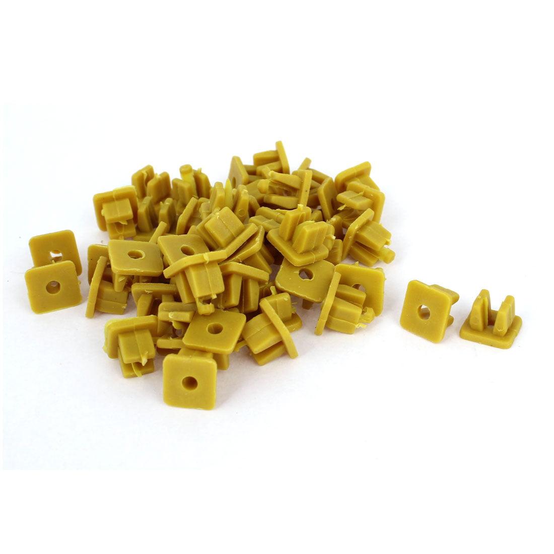 50 Pcs Khaki Plastic Rivet Fastener Mud Flaps Bumper Clips 10mm x 10mm x 13mm