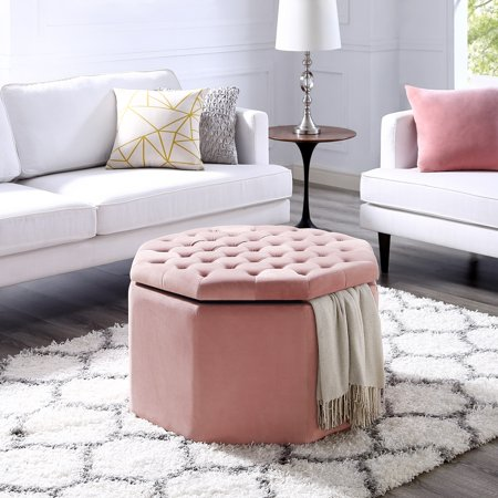 Romeo Velvet or Linen Storage Ottoman - Cocktail Coffee Table | Upholstered Tufted | Modern Octagon | Inspired (Coffee Linen)
