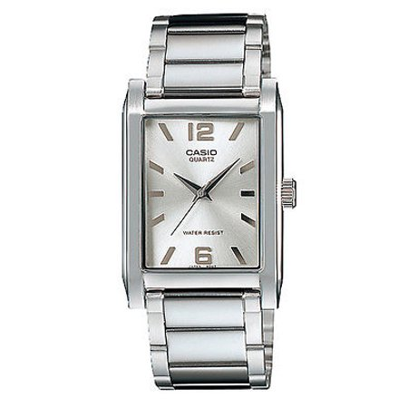 Casio MTP1235D-7A Men's Enticer Stainless Steel Rectangular Silver Dial