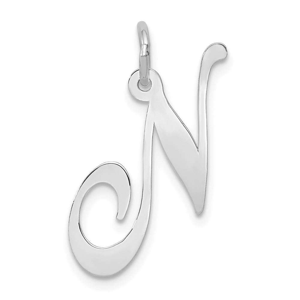 14k White Gold Large Script Initial C Charm