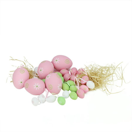 Easter Egg Ornaments (Set of 29 Pastel Pink Green and White Painted Floral Spring Easter Egg Ornaments)