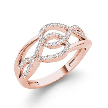 - 1/6ct TDW Diamond 10K Rose Gold Interlocking Loops Fashion ring