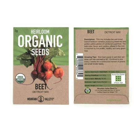 Organic Detroit Dark Red Beet Garden Seeds - 3 g Packet - Non-GMO, Heirloom Seed for Growing Microgreens, Vegetable Gardening (Beets Organic Seed)