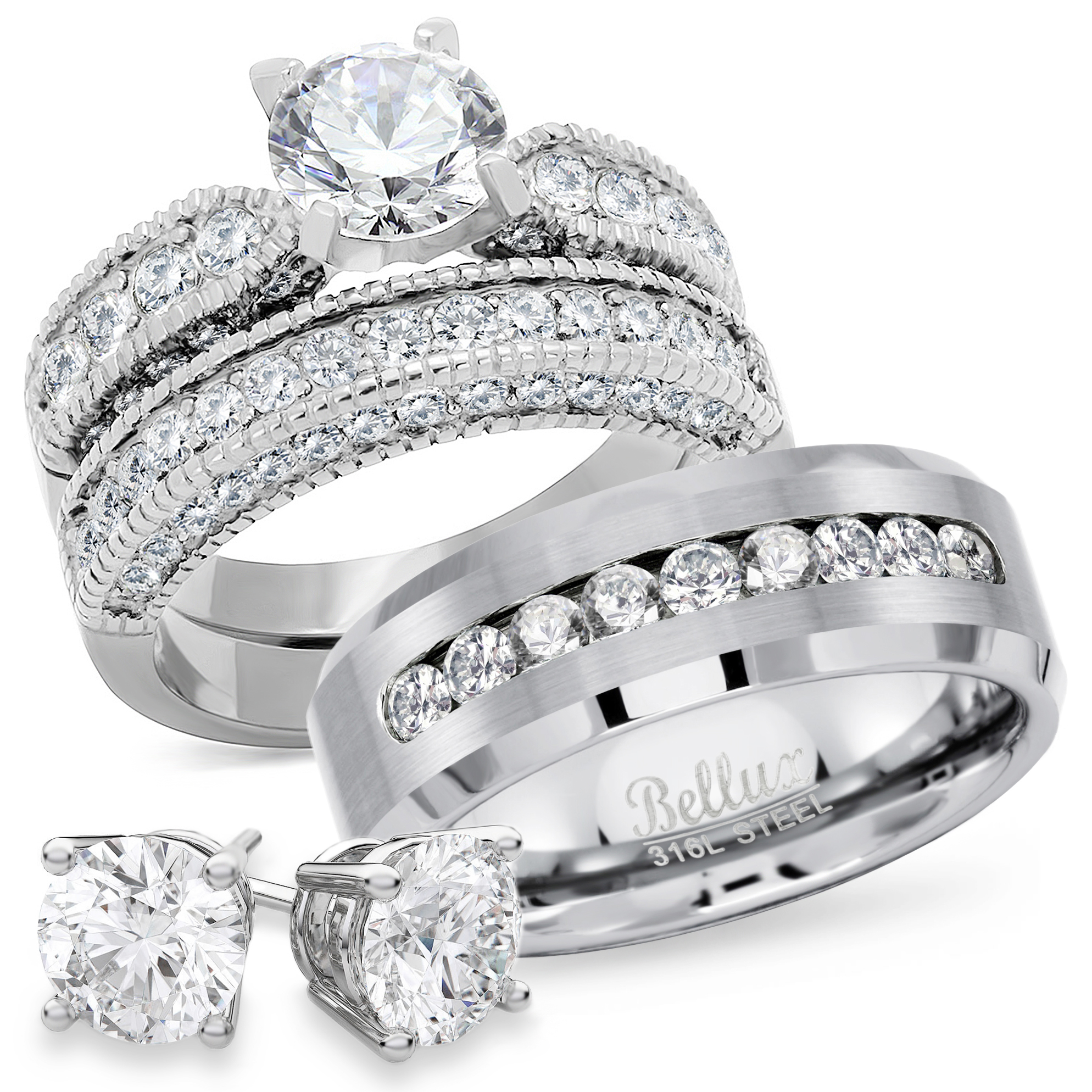 Bellux Style - Wedding Rings Set for Him and Her Stainless ...