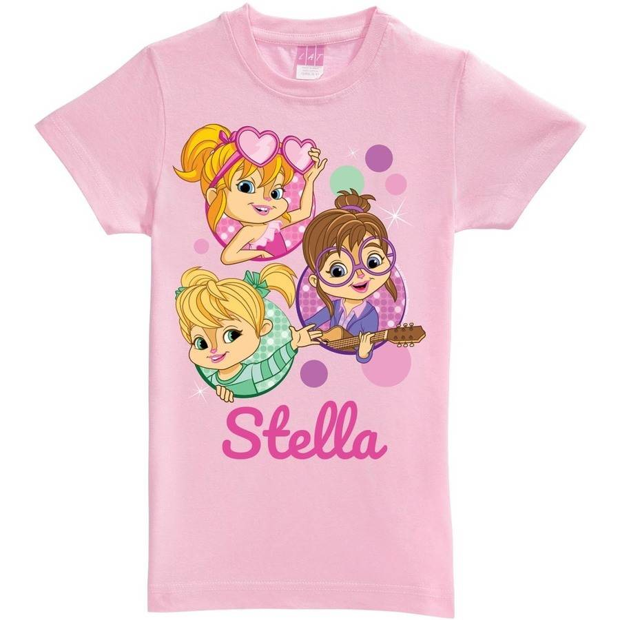 Personalized Alvin and the Chipmunks Girls' Fitted T-Shirt, Pink
