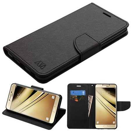 Samsung Galaxy C7 Pro Case, by Insten Liner MyJacket Leather Wallet Card Flip Stand Case For Samsung Galaxy C7 Pro - Black (Bundle with USB Type C Cable)