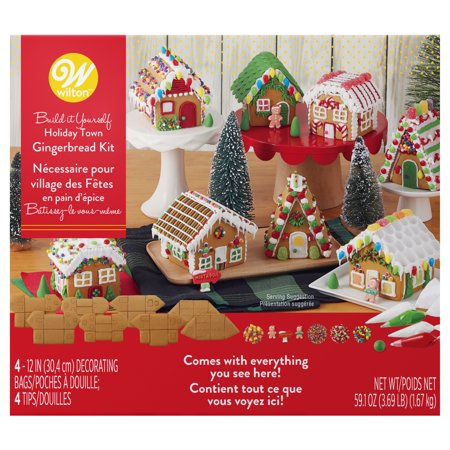 Baking Gingerbread House (Wilton Build-it-Yourself Gingerbread Village Decorating Kit, 8-piece Party Pack )