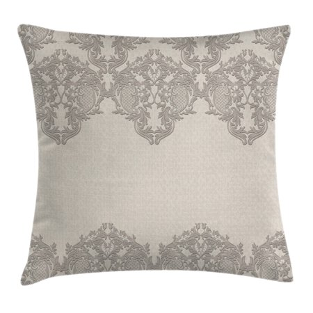 Taupe Throw Pillow Cushion Cover, Lace Like Framework Borders with Arabesque Details Delicate Intricate Retro Dated Print, Decorative Square Accent Pillow Case, 16 X 16 Inches, Taupe, by Ambesonne