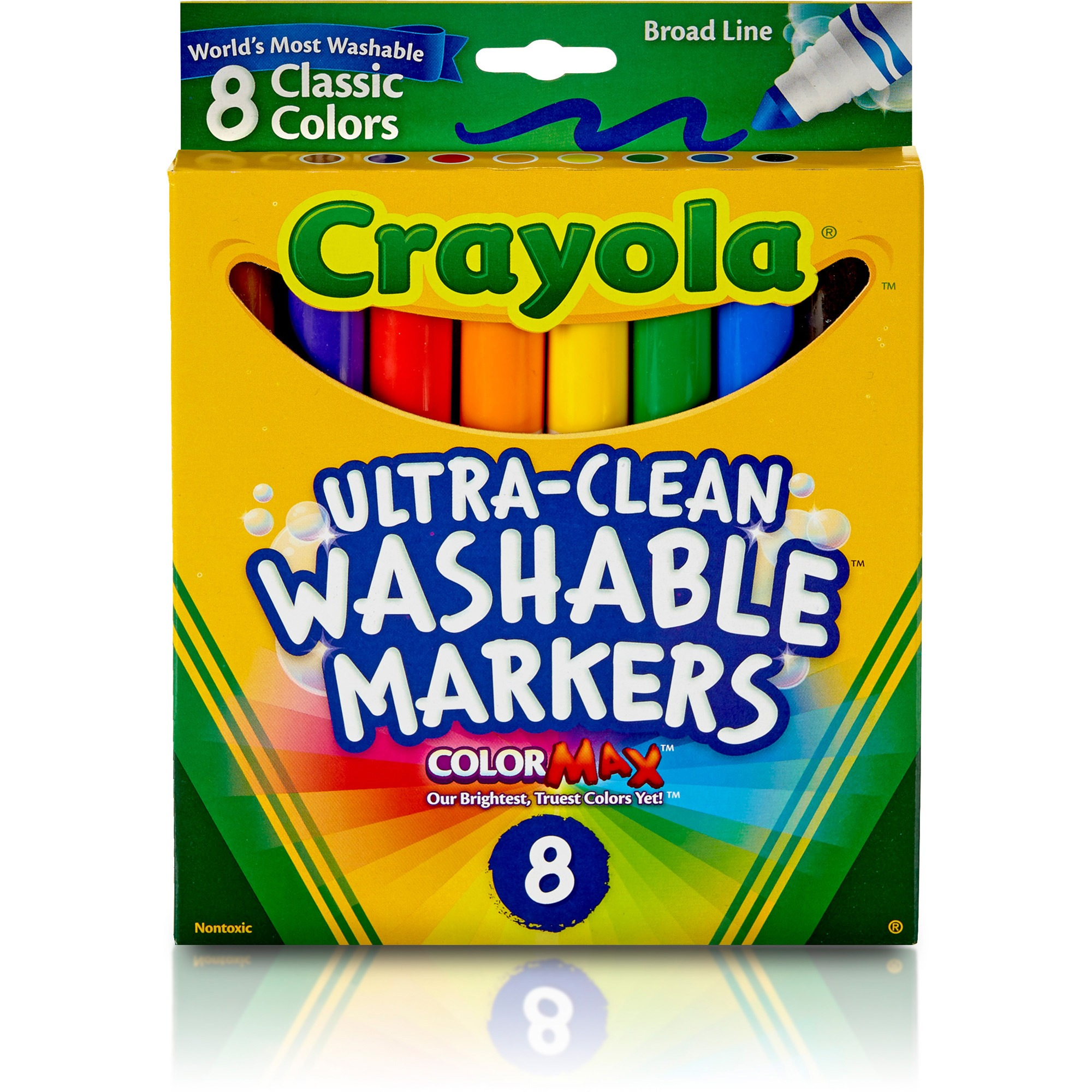 Crayola Washable Markers, Broad Line, Classic Colors, 8-Count
