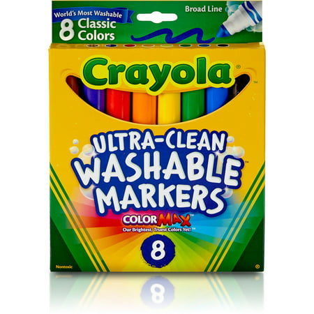 Crayola Washable Markers, Broad Line, Classic Colors, 8 Count ()
